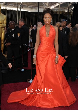 Jennifer Hudson Red Halter V-neck Prom Dress Oscars 2011 Red Carpet