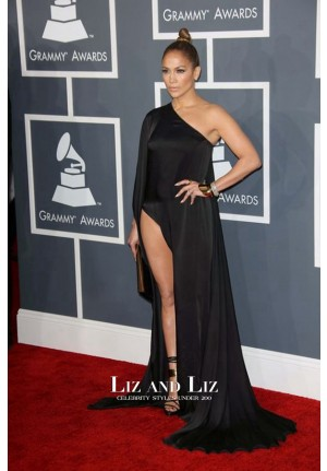 Jennifer Lopez Black One-shoulder Satin Red Carpet Dress Grammy Awards 2013