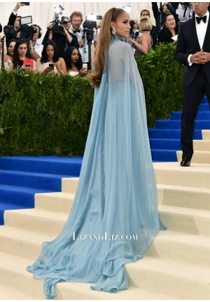 Jennifer Lopez Blue Chiffon Prom Dress Met Gala 2017