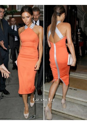 Jennifer Lopez Inspired Short Orange Cocktail Party Celebrity Dresses