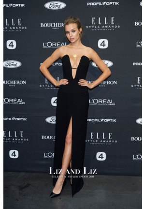 Josephine Skriver Black Strapless Celebrity Prom Dress Elle Style Awards 2015