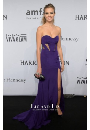 Josephine Skriver Purple Cut-out Celebrity Dress amfAR New York Gala 2015