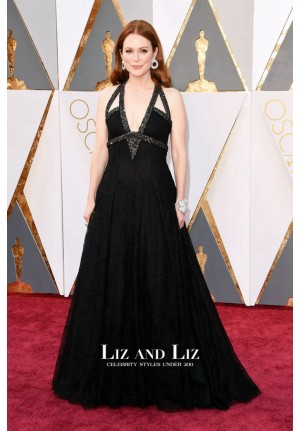 Julianne Moore Black V-neck Prom Dress Oscars 2016 Red Carpet