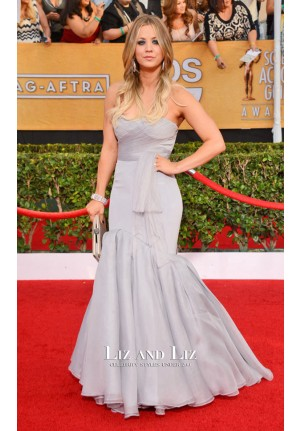 Kaley Cuoco Grey Strapless Mermaid Red Carpet Dress SAG Awards 2014