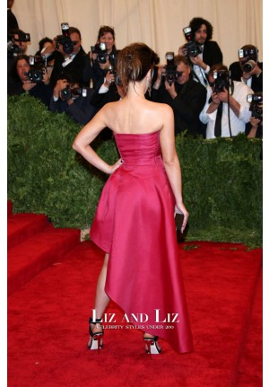 Kate Beckinsale Red Strapless Celebrity Prom Dress Met Gala 2013 Red Carpet