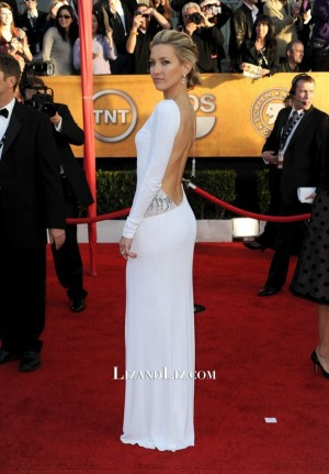 Kate Hudson White Long-sleeve Formal Celebrity Dress SAG Awards 2010