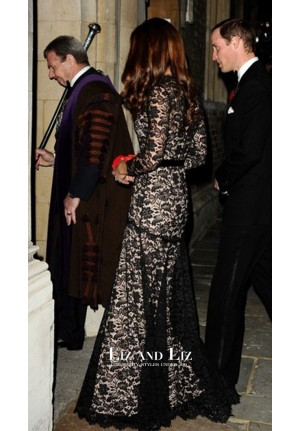 Kate Middleton Black Lace Dress University of St. Andrews 600th Anniversary