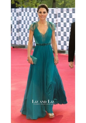 Kate Middleton Blue Lace Chiffon Celebrity Dress London BOA Olympic Concert