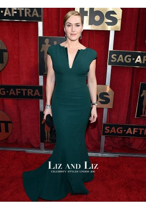 Kate Winslet Dark Green Mermaid Prom Dress SAG Awards 2016 Red Carpet