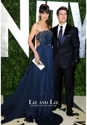 Katie Holmes Navy Blue Strapless Chiffon Gown Oscar Party 2012 Red Carpet Dress