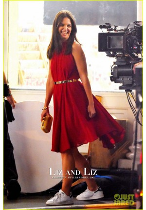 Katie Holmes Short Red Cocktail Party Celebrity Dress Olay Commercial