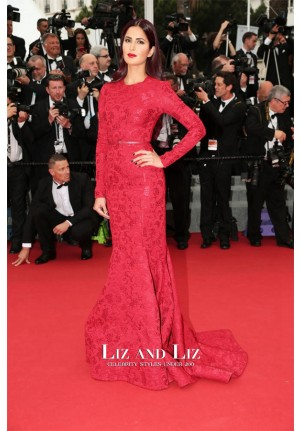 Katrina Kaif Red Lace Long-sleeve Celebrity Dress Cannes 2015 Red Carpet