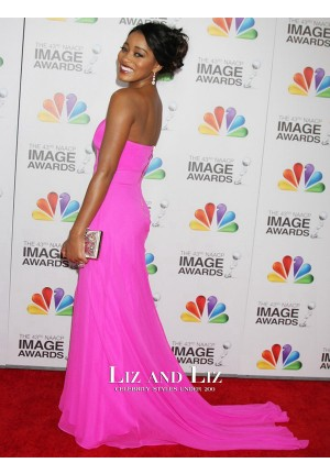 Keke Palmer Pink Strapless Prom Dress 2012 NAACP Image Awards