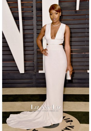 Keke Palmer White Sleeveless Plunging Red Carpet Dress Oscars 2015
