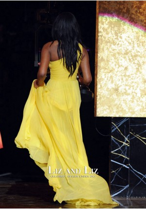 Keke Palmer Yellow One-shoulder Chiffon Dress NAACP Image Awards 2010