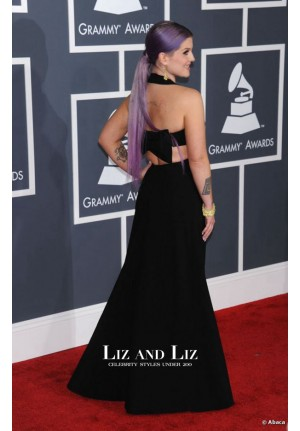 Kelly Osbourne Black Cut-out Prom Dress Grammys 2013 Red Carpet