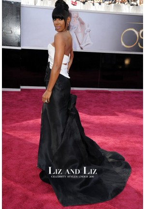 Kelly Rowland Black and White Strapless Dress Oscars 2013 Red Carpet
