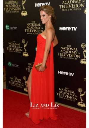 Kelly Kruger Red Strapless Chiffon Celebrity Dress Emmy Awards 2014