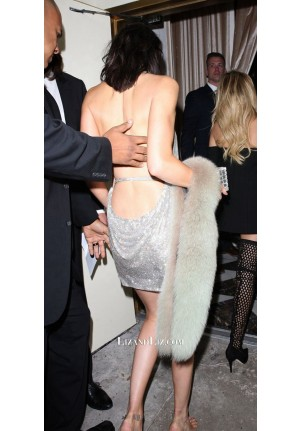 Kendall Jenner And Paris Hilton 21st Birthday Party Silver Halter Backless Dress