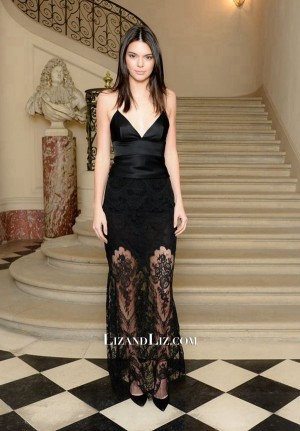 Kendall Jenner Black Lace Satin Celebrity Dress CFDA/Vogue Cocktail Party
