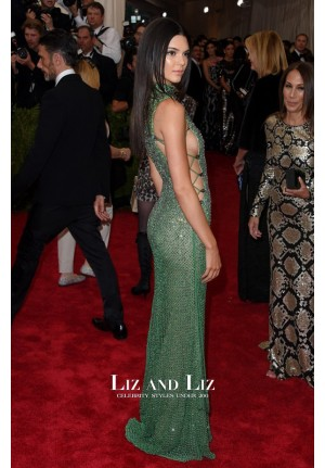Kendall Jenner Green Evening Prom Red Carpet Dress Met Gala 2015