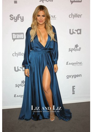 Khloe Kardashian Blue Long-sleeve Plunging Wrap Slit Celebrity Prom Dresses