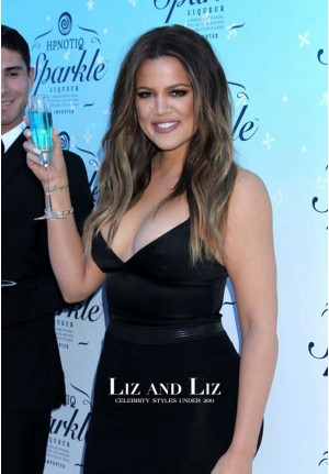 Khloe Kardashian Spaghetti Strap Black Celebrity Dress Evening Prom Gown