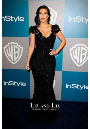 Kim Kardashian Black Lace Red Carpet Dress Golden Globes Party 2012