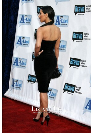 Kim Kardashian Black Velvet Dress Bravo's 2nd Annual A-List Awards