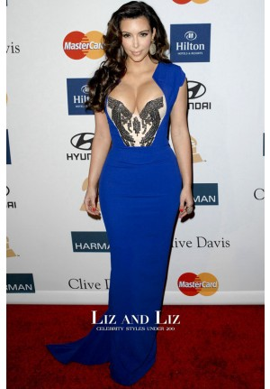 Kim Kardashian Royal Blue Beaded Celebrity Prom Dress Pre-Grammy Party