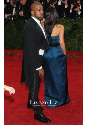 Kim Kardashian Blue Strapless Prom Dress Met Gala 2014 Red Carpet