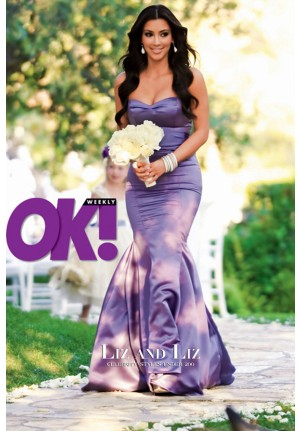 Kim Kardashian Purple Strapless Mermaid Satin Bridesmaid Dress
