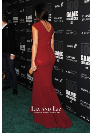 Kim Kardashian Red Mermaid Celebrity Dress Game Changers Awards 2011