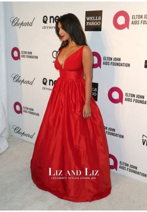 Kim Kardashian Red V-neck Ball Gown Celebrity Dresses Oscars 2014 Party