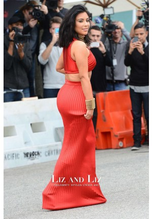 Kim Kardashian Red Two-piece Celebrity Prom Dresses Pre-Grammy