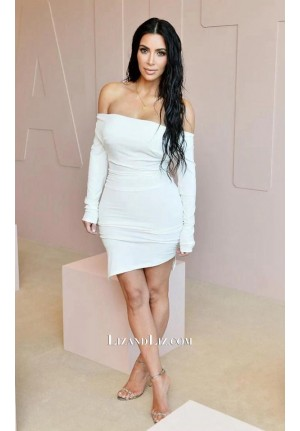 Kim Kardashian Short White Off-the-shoulder Dress KKW Beauty Launch