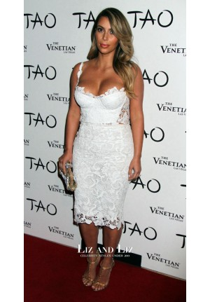 Kim Kardashian Short White Lace Cocktail Party Dress Birthday 2013