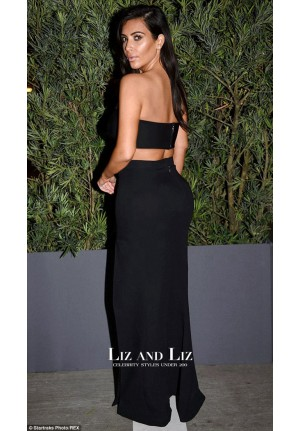 Kim Kardashian Black Two Piece Prom Dress Paper Magazine Party
