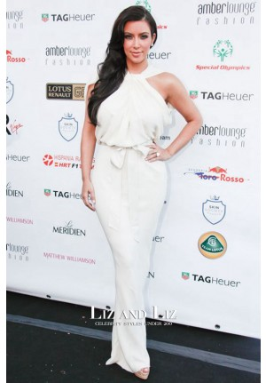 Kim Kardashian White Halter Celebrity Dress Amber Lounge Party Monaco
