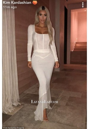 Kim Kardashian Inspired White Celebrity Formal Dress KKW Fragrance Launch
