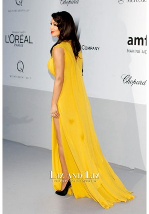 Kim Kardashian Yellow V-neck Celebrity Dress amfAR Gala Cannes 2012