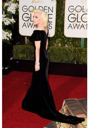 Lady Gaga Black Velvet Off-the-shoulder Red Carpet Dresses Golden Globes 2016