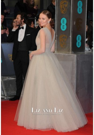 Laura Haddock Grey V-neck Tulle Ball Gown Prom Dress BAFTA 2015