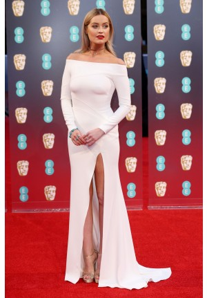 Laura Whitmore White Off-the-shoulder Dress BAFTAs 2017 Red Carpet