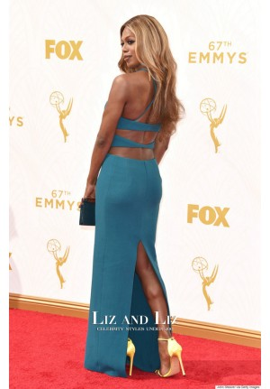 Laverne Cox Teal Blue Celebrity Prom Dress Emmys 2015 Red Carpet