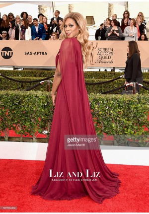 Laverne Cox Red One-shoulder Chiffon Dress SAG Awards 2016 Red Carpet