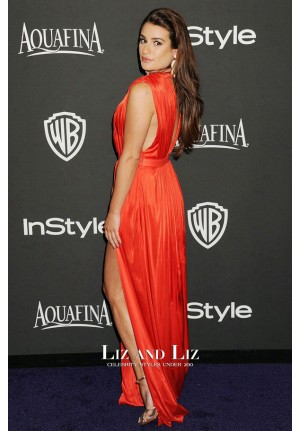 Lea Michele Red Plunging Prom Golden Globes 2015 Red Carpet Dress