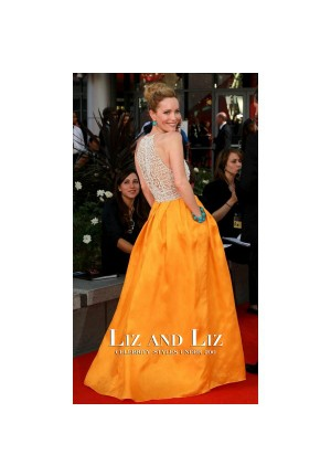 Leslie Mann White and Yellow Celebrity Prom Dresses Emmys 2012 Red Carpet