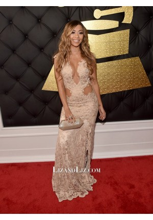 Liane V Champagne Lace Celebrity Prom Dress Grammy Awards 2017