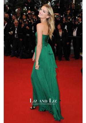 Lily Donaldson Green Strapless Chiffon Red Carpet Dress Cannes 2012